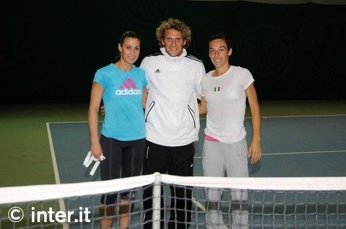 Photos: Forlan with Schiavone and Pennetta