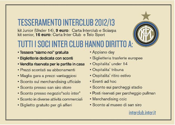 Inter Club: aperta la campagna tesseramento 12/13