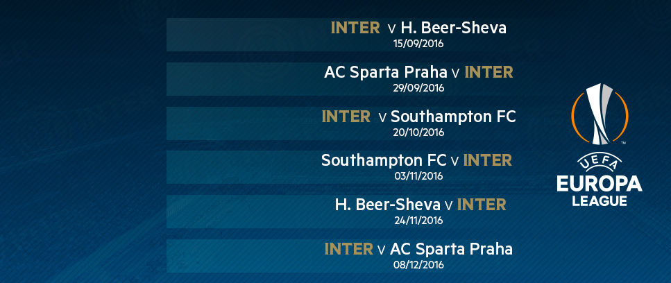 Interit Calendario.Europa League El Calendario De Los Nerazzurri News