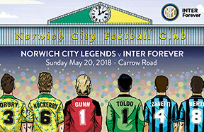 Four new legends named in Inter Forever side for Carrow Road match